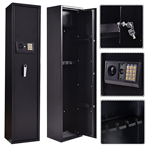 Goplus 5 Rifle Electronic Lock Gun Storage Safe Cabinet Steel Lockbox Firearm