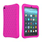 SUPWANT Silicone Case for All-New Fire 7 2019 - Light Weight Anti Slip Shockproof  Protective Kids Case Back Cover for Amazon Kindle Fire 7 2019 Tablet (9th Generation - 2019 Release), Rose