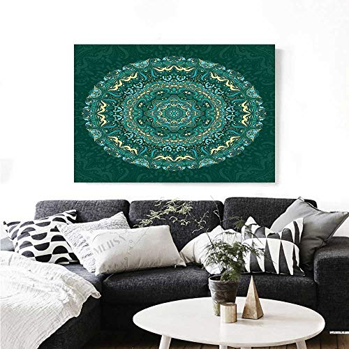 Warm Family Mandala The Picture for Home Decoration Religious Eastern Ancestral Circle Form with Swirling Leaves Revival Old Retro Design Customizable Wall Stickers 24