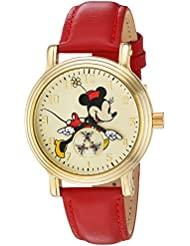 Disney Minnie Mouse Womens Gold Vintage Alloy Watch, Red Leather Strap, W002767
