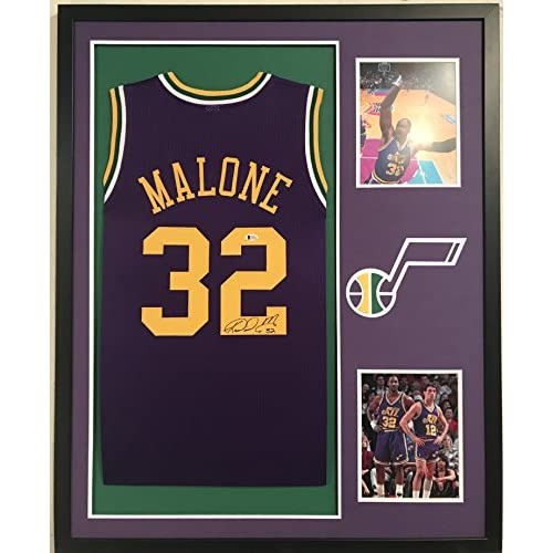check out ac8a9 06438 Karl Malone Autographed Custom Framed Utah Jazz Jersey ...
