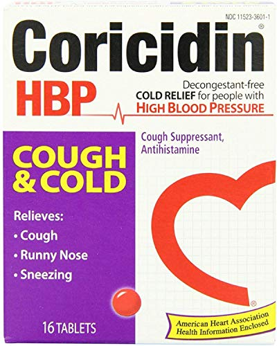 Coricidin HBP Antihistamine Cough & Cold Suppressant Tablets, 16 Tablets (Pack of 8)