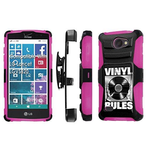 LG [Lancet] [Verizon] Armor Case [SlickCandy] [Black/ Hot Pink] Heavy Duty Defender [Holster] [Kick Stand] Phone Case - [Vinyl Rules] for LG Lancet [vw820]