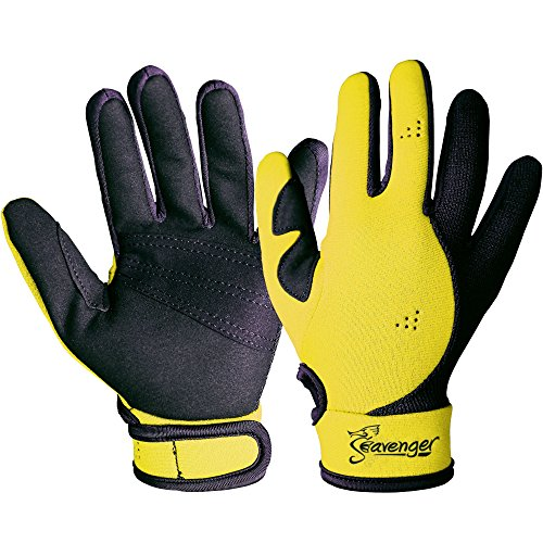Dive Gloves (Seavenger 1.5mm Reef Gloves Stretchy Mesh with Reinforced Leather Good for Snorkeling, Kayaking, Spearfishing, Sailing, Scuba Diving, Rafting (Yellow, Medium))