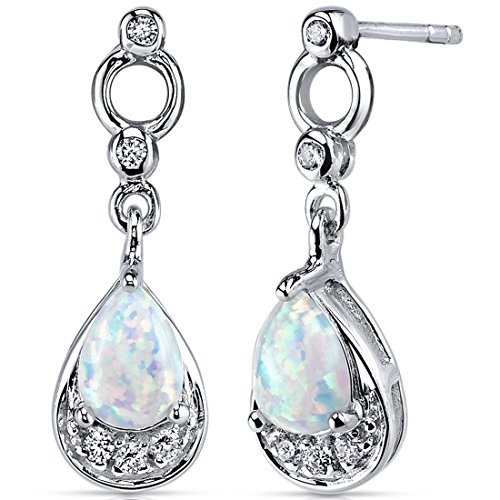 Opal Dangle Earrings Sterling Silver 1.00 Carats