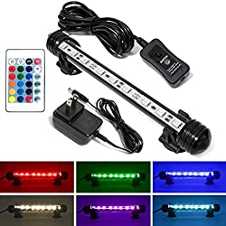 Mingdak LED Fish Tank Light - Multi Color Changing Dimmable LED Light for Aquarium Fish Tank,Waterproof Submersible Crystal Glass LED Light - 9 LEDs 7.5 Inches