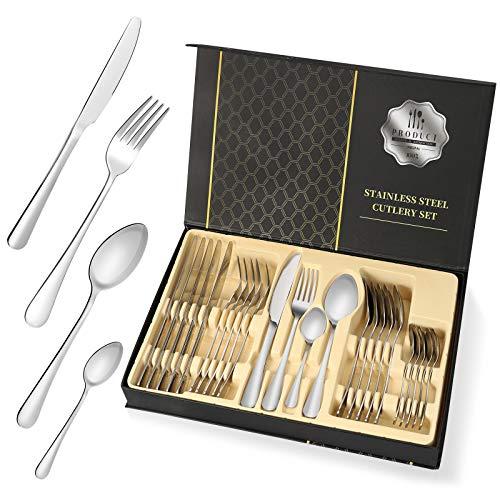 Silverware Sets, High Grade 24 Stainless Steel Flatware Cutlery Set Tableware Dinnerware Knives Set Silverware Utensils…