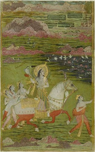 Wall Art Print entitled Chand Bibi Hawking With Attendants In A Landscape by Celestial Images | 15 x 24