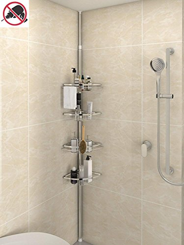 (Lifewit Corner Shower Caddy 4 Tier Adjustable Bathroom Constant Tension Corner Pole Caddy Free Standing Shower Organizer for Shampoo,Soap,No Drilling (4-Tier))