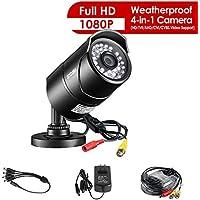ZOSI 1 Pack 2.0 Megapixel HD 1080P 4 in 1 TVI/CVI/AHD/CVBS Security Cameras Day Night Waterproof Camera 100ft IR Distance, Aluminum Metal Housing, Compatible for HD-TVI, AHD, CVI, and CVBS/960H analog