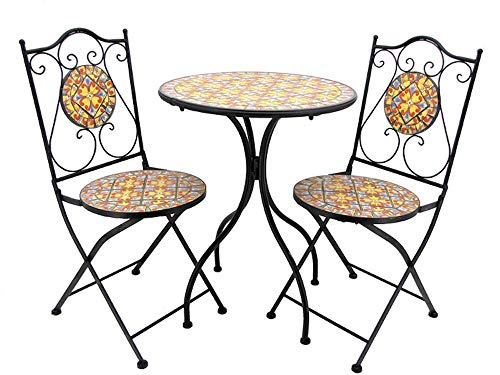 """Barcelona"""" Mosaic Tile Bistro Set- 1 Round Table, 2 Folding Chairs"""