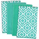 """DII Cleaning, Washing, Drying, Ultra Absorbent, Lattice Microfiber Dishtowel 16x19"""" (Set of 4) - Teal"""