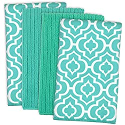 "DII Microfiber Multi-Purpose Cleaning Towels Perfect for Kitchens, Dishes, Car, Dusting, Drying Rags, 16 x 19"", Set of 4 - Teal Lattice"