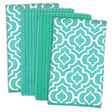DII Cleaning, Washing, Drying, Ultra Absorbent, Lattice Microfiber Dishtowel 16x19  (Set of 4) - Teal