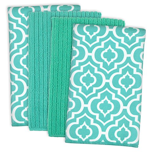 DII Microfiber Multi-Purpose Cleaning Towels Perfect for Kitchens, Dishes, Car, Dusting, Drying Rags, 16 x 19, Set of 4 - Teal Lattice