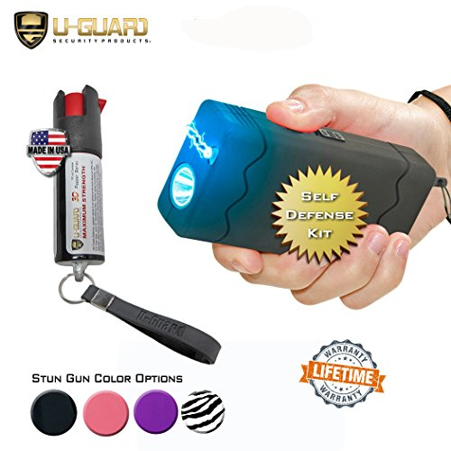 Mini Pocket Taser Stun Gun Self Defense Pepper Spray Kit For Personal Self Defense. (1) Rechargeable Disable Pin Stun Gun Flashlight (1) Keychain Pepper Spray. (BLACK) (Pin Spray Gun compare prices)