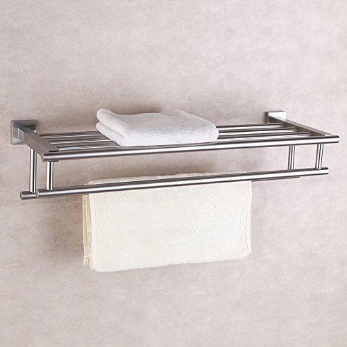 KES Stainless Steel Bath Towel Rack Bathroom Shelf with Double Towel Bar 60 CM Storage Organizer Contemporary Hotel Square Style Wall Mount  Brushed Finish. Bathroom Towel Storage  Amazon com
