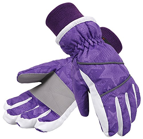 Lullaby Kids Waterproof Ski Gloves Kids Winter Windproof Sport Snow Gloves S