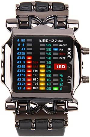 Cool Creative Funky Sports Black Men Boys Rubber Band Colorful LED Date day Binary Digital Clock Gift Watch