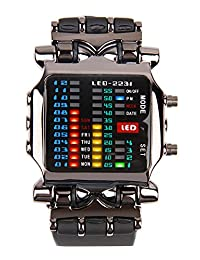 Cool Creative Funky Sports Black Men Boys Rubber Band Luxury LED Binary Digital Clock Watch