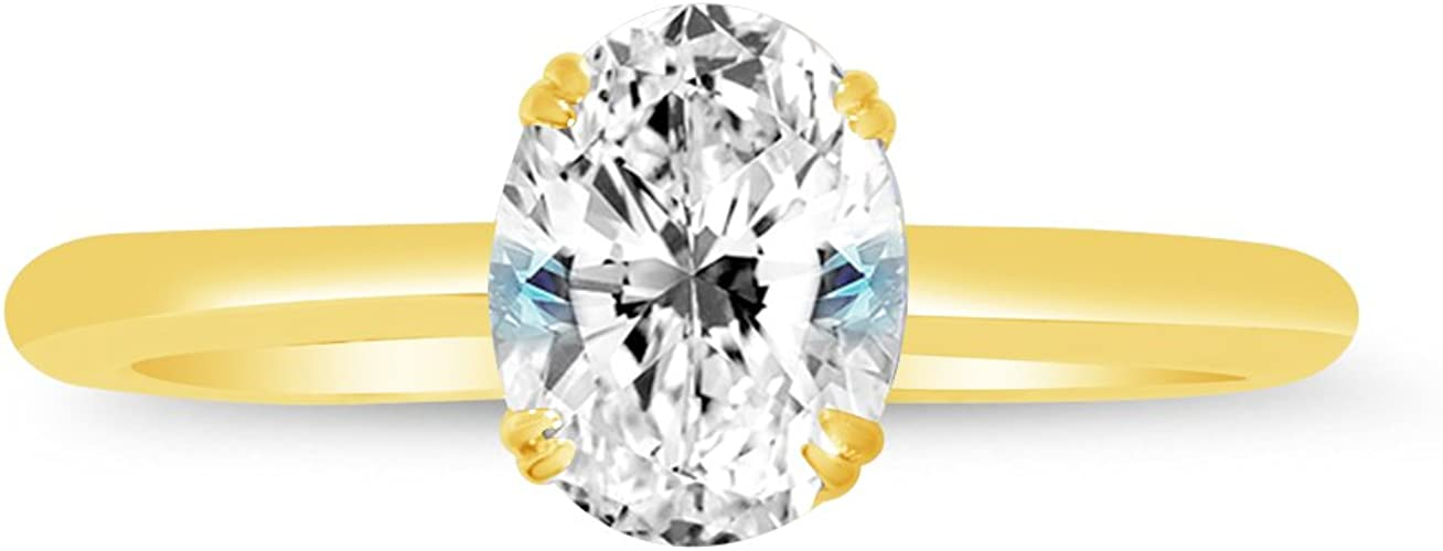 14K Solid Yellow Gold three Stone Oval Cubic Zirconia Womens Ring Size 7