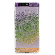 KSHOP Samsung Galaxy J5 (2015) (5.0 inches) TPU Soft Case Transparent TPU Silicone Cover Bumper ShellColorful Pattern Design Clear Crystal Protective Back Bumper Shell-Green Mandala