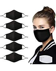 5 Pcs Adult Unisex Reusable Washable Adjustable Fashion Dust Cover with Nose Bridge Fashion Cotton Cloth Masks with 10 Activated Carbon Filter for Man and Women Black