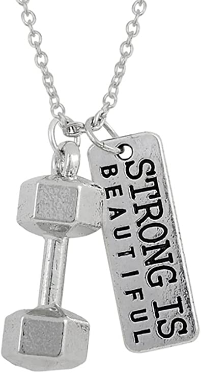 dumbbell silver necklace weightlifting dumbbell necklace necklace weightlifting jewelry strong is beautiful weight lifting fitness