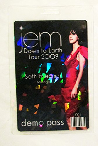 2009 Jem Hologram Flake Laminated Backstage Pass Down to Earth Tour