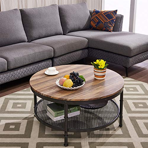 GreenForest - Coffee Table Industrial Round Design Metal Legs with Storage Open Shelf for Living Room, Oak