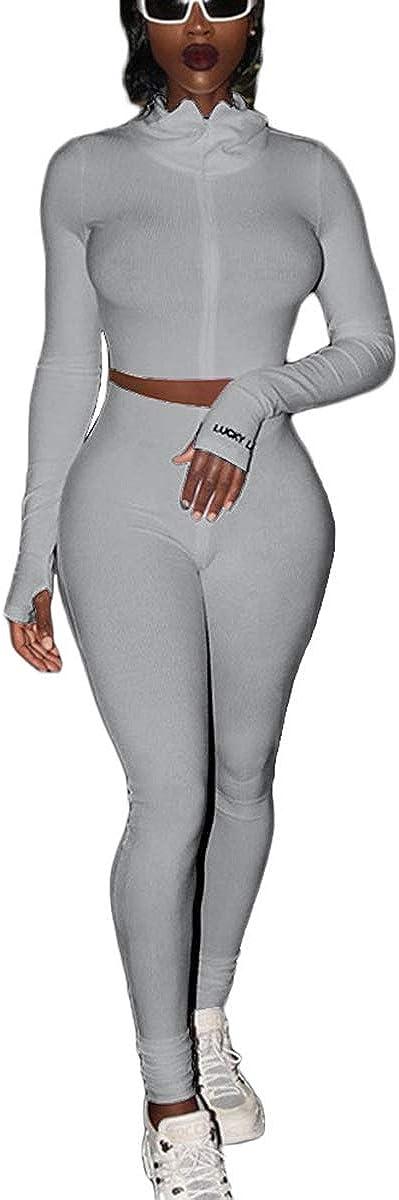 2 Piece Outfits for Women Crop Tops Long Sleeve Zipper Skinny Biker Yoga Long Leggings Sets