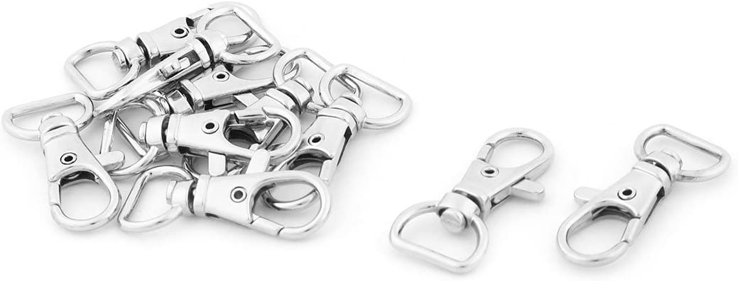 uxcell Purse Key Ring Lobster Clasp Swivel Trigger Snap Hook Buckle 10 Pcs Silver Tone