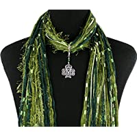 Celtic Knot Irish Shamrock Necklace Scarf ~ Green St Patrick's Day Accessory ~ Triquetra Trinity Knot ~ Color Choice ~ Quality Fibers ~ Detachable Pendant Option