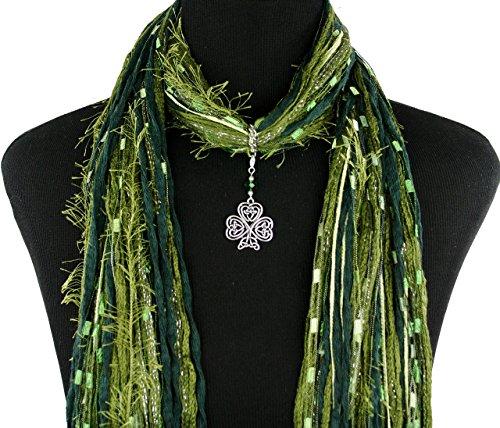 Celtic Knot Irish Shamrock Necklace Scarf ~ Green