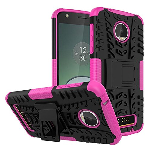Hanbaili Caja protectora para Motorola Moto Z Juego, fibra de carbono cubierta de parachoques con el soporte, la absorción de choque, resistente a los arañazos Black