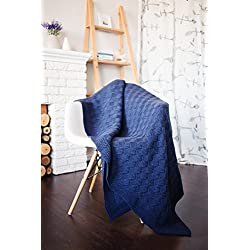 "SoundSleep Doros Basket Weave Geometric Patterned Knitted Dark Blue Plaid Wool Acrylic Silky Soft Warm Sweater Knitting Throw Blanket (55x70"", 140x180cm)"