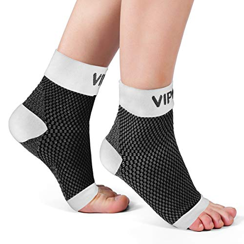 Ankle Brace Plantar Fasciitis Socks, Compression Foot Sleeves for Men Women, 1 Pair Heel Socks for Running, Arch Pain, Nurses, Maternity and More Sports (Medium: 7-10 arch circumference, White)