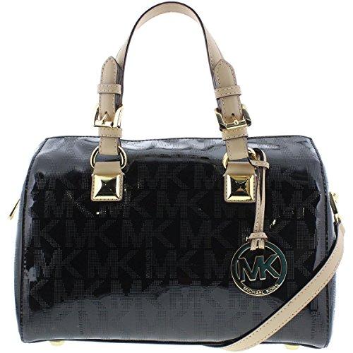 Michael Kors Metallic Satchel - MICHAEL Michael Kors Womens Grayson Mirror Metallic Satchel Handbag Black Medium
