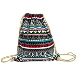 iSuperb® Canvas Drawstring Backpack bag Gym Sack bag Stylish Lightweight Cute for Excursion Outdoor