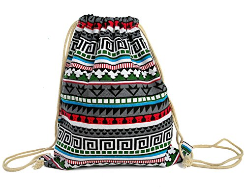 iSuperb Canvas Drawstring Backpack bag Gym Sack bag Stylish Lightweight Cute for Excursion Outdoor - Floral Shirt Trip Day
