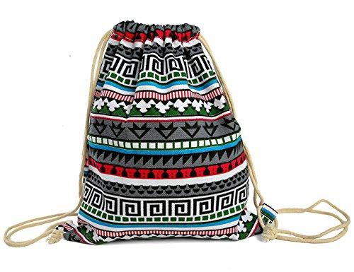 Canvas Drawstring Back Sack (iSuperb Canvas Drawstring Backpack bag Gym Sack bag Stylish Lightweight Cute for Excursion Outdoor (Bohemia))