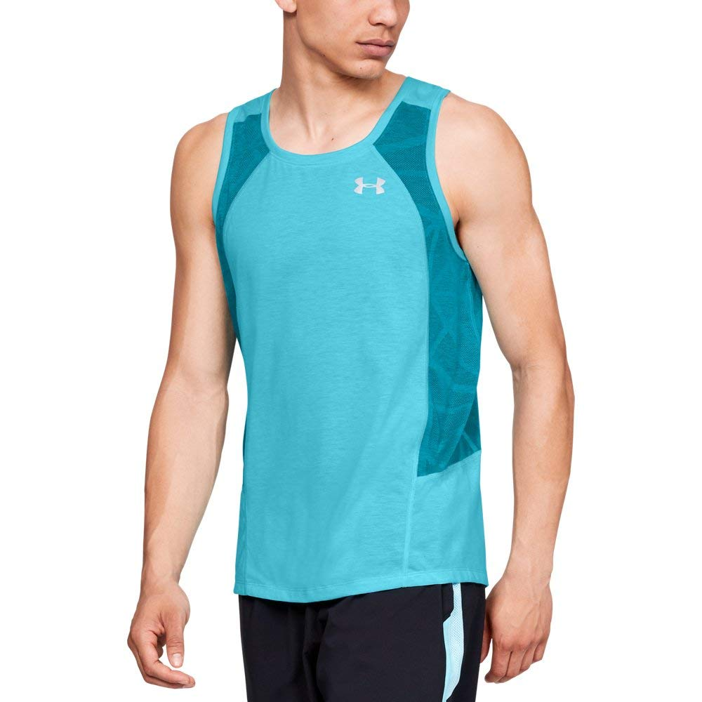 Under Armour Men's Swyft Singlet , Venetian Blue (448)/Reflective, Large