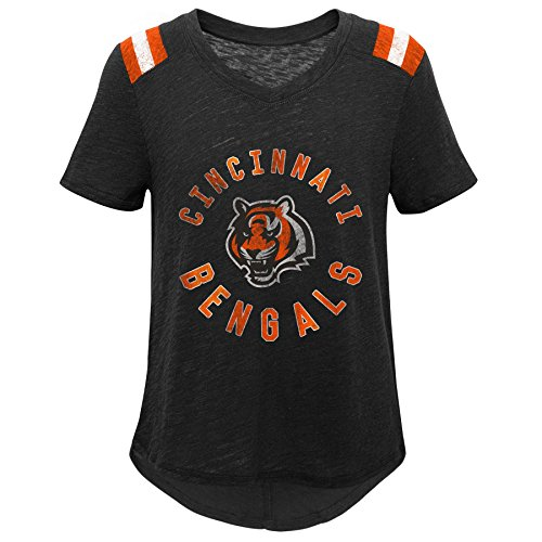 Outerstuff NFL NFL Cincinnati Bengals Youth Girls Retro Block Vintage Short Sleeve Football Tee Black, Youth Small(7-8)