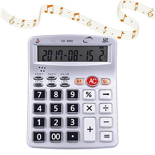Egoelife Musical Desktop Calculator 12-Digits LCD Display with Alarm Clock and Voice Reading (AR-8001) by Egoelife