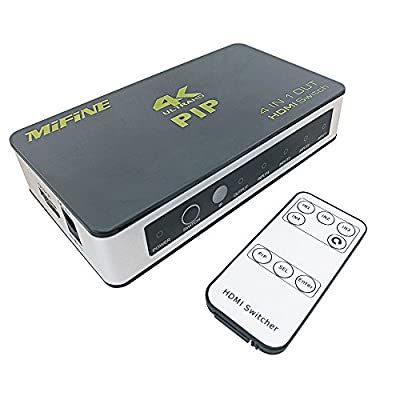 Hdmi Switch Box,Mifine 4Kx2K PIP 4 in 1 out High Speed 4 Port Switcher V1.4 with IR Wireless Remote Control,Support 1080P 3D Automatic Switch for Xbox PS3 PS4 Apple TV Roku Fire TV Blu-ray DVD Players from Mifine