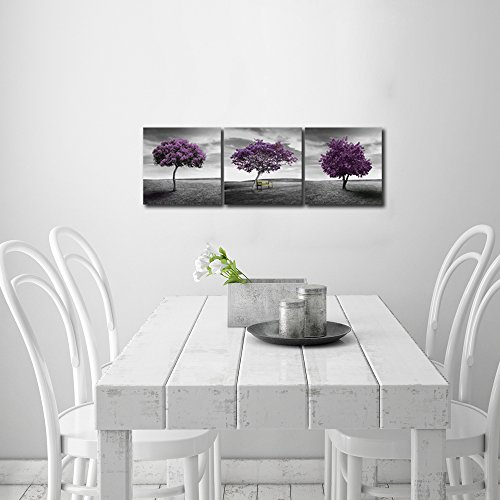 Pyradecor 3 piece purple trees modern stretched and framed for Home decor uae
