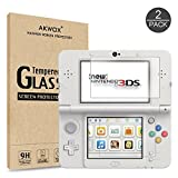 [2 Sets] Screen Protector for Nintendo New 3DS Akwox 9H Tempered Glass Top LCD Screen Protector with HD Clear Crystal PET Buttom LCD Screen Protective Filter