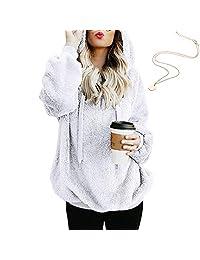 KOERIM Women's Warm Fuzzy Oversized Sherpa Pullover Hoodie Pockets (Necklaces)