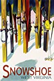Snowshoe, West Virginia - Colorful Skis (12x18 Art Print, Wall Decor Travel Poster)