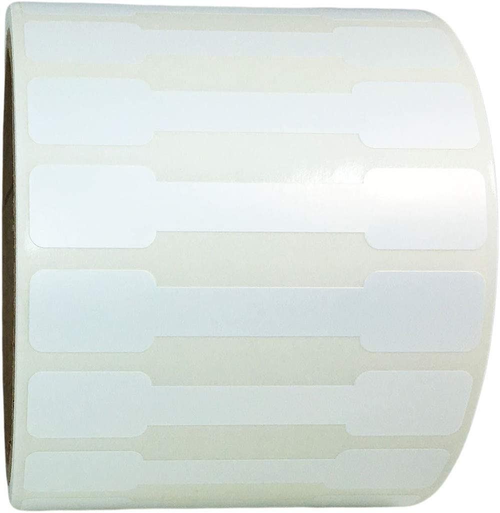 White Tamper Evident Writable Blank Labels 500 Pack 13 x 70 mm 0.50 x 2.75 Inch Barbell Stickers